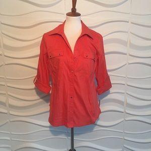 Large Orange BRAND NEW 3/4 Sleeves Blouse